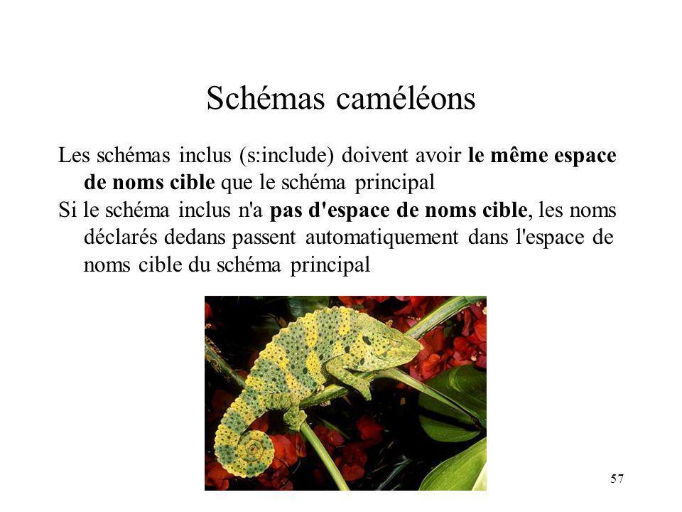 Schémas caméléons Les schémas inclus (s:include) doivent avoir le même espace de noms cible que le schéma principal.