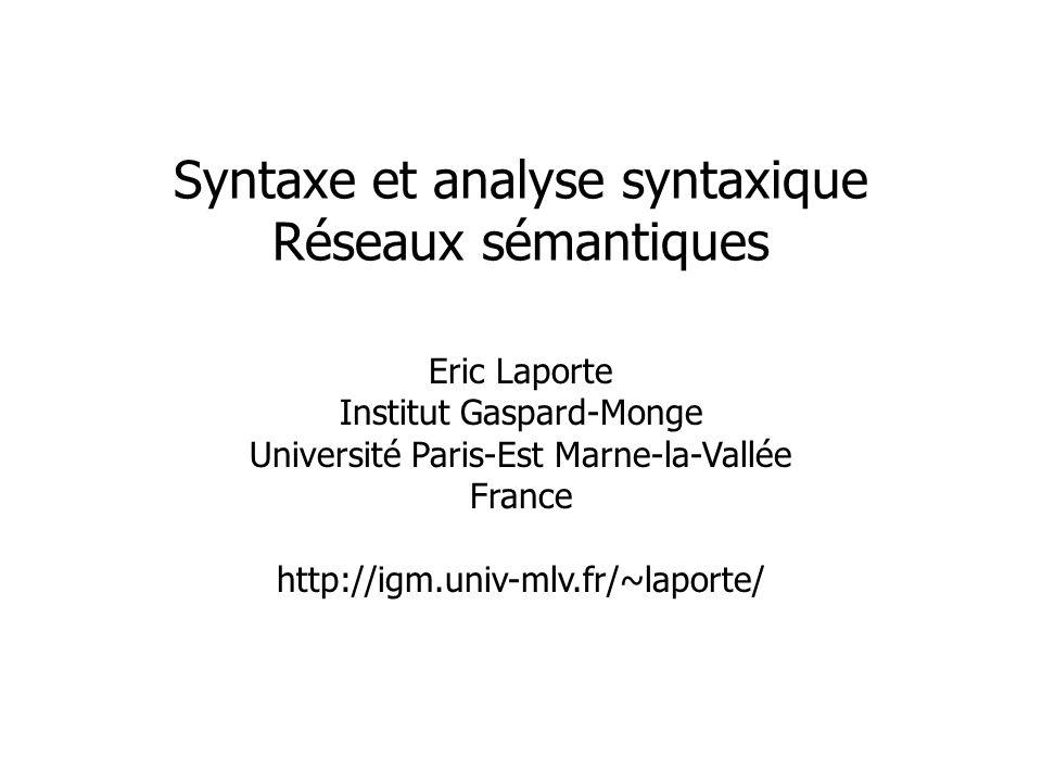 Syntaxe et analyse syntaxique Réseaux sémantiques