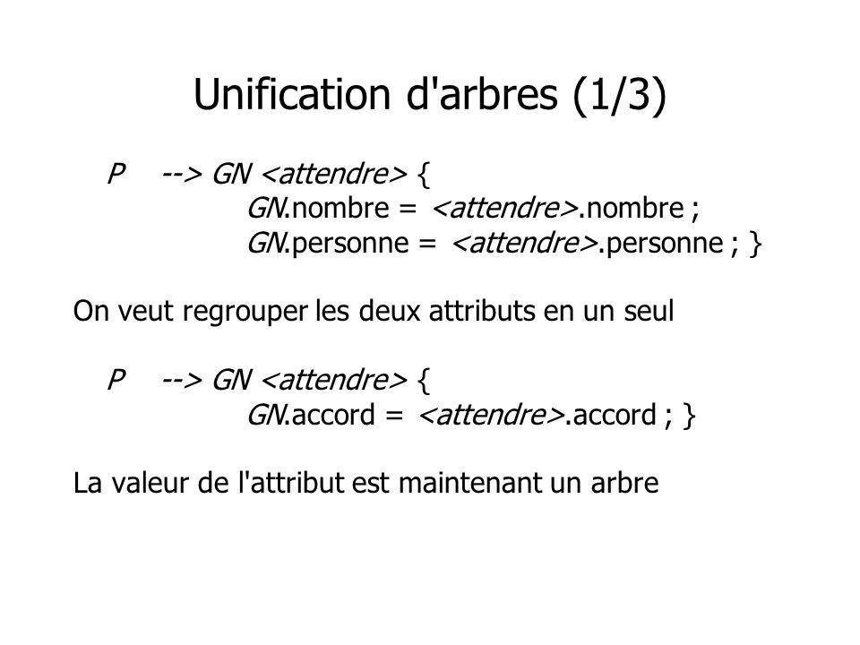 Unification d arbres (1/3)