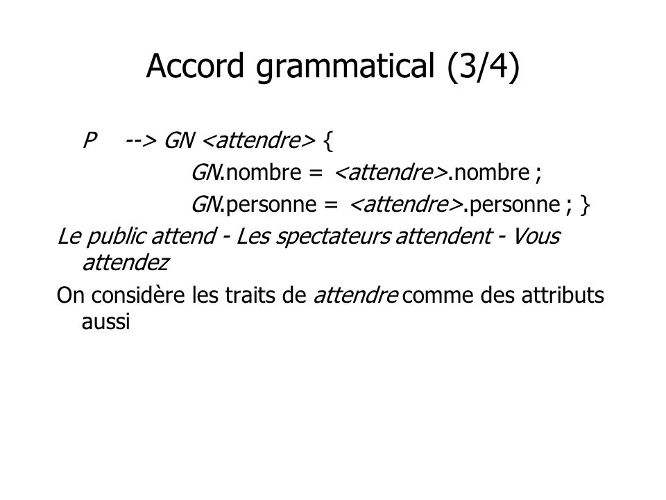 Accord grammatical (3/4)