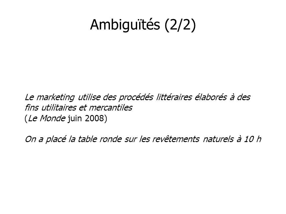 Ambiguïtés (2/2)