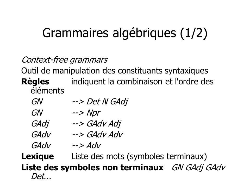 Grammaires algébriques (1/2)