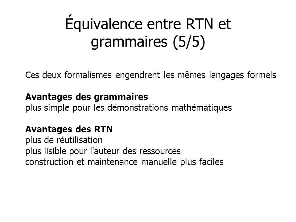 Équivalence entre RTN et grammaires (5/5)