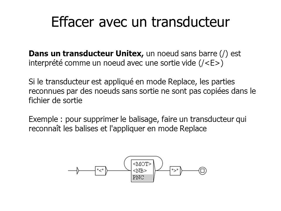 Effacer avec un transducteur