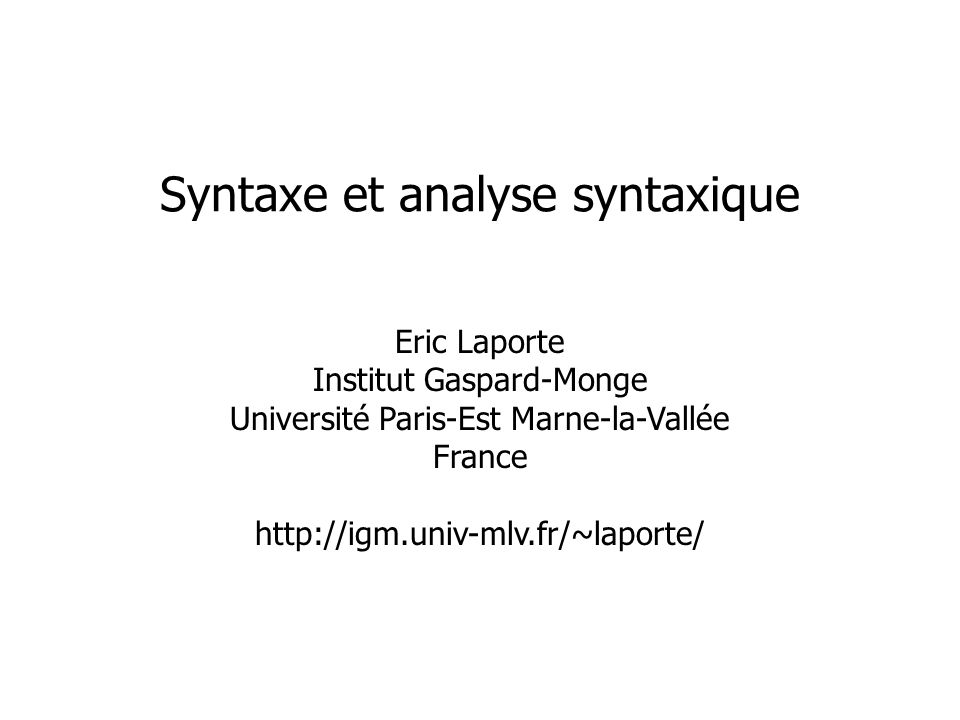 Syntaxe et analyse syntaxique