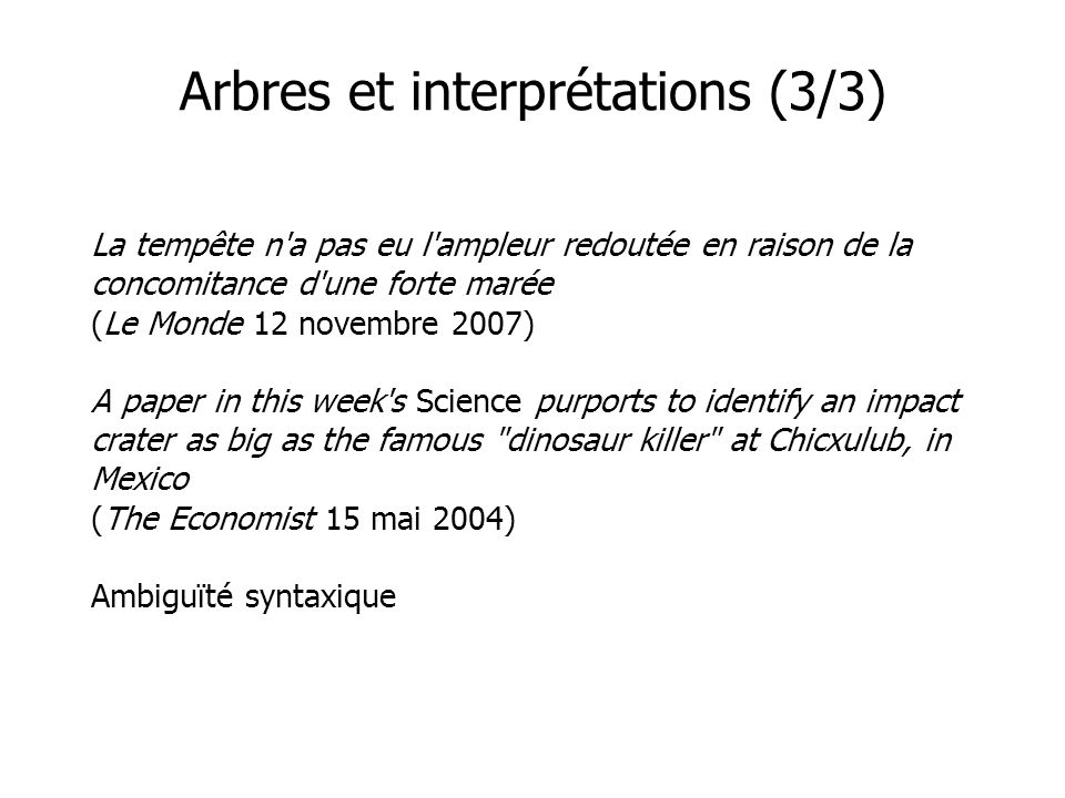 Arbres et interprétations (3/3)