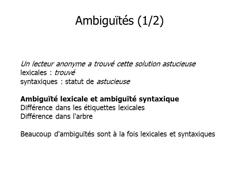 Ambiguïtés (1/2)