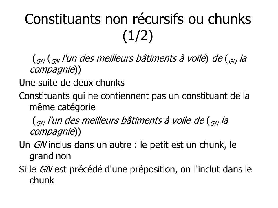 Constituants non récursifs ou chunks (1/2)