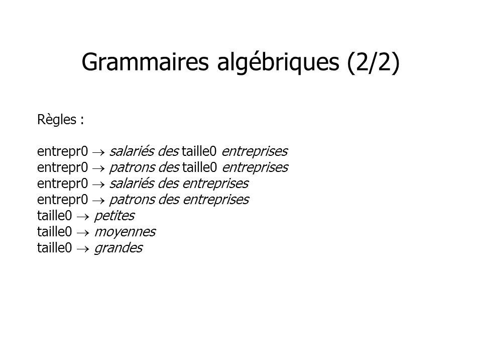 Grammaires algébriques (2/2)