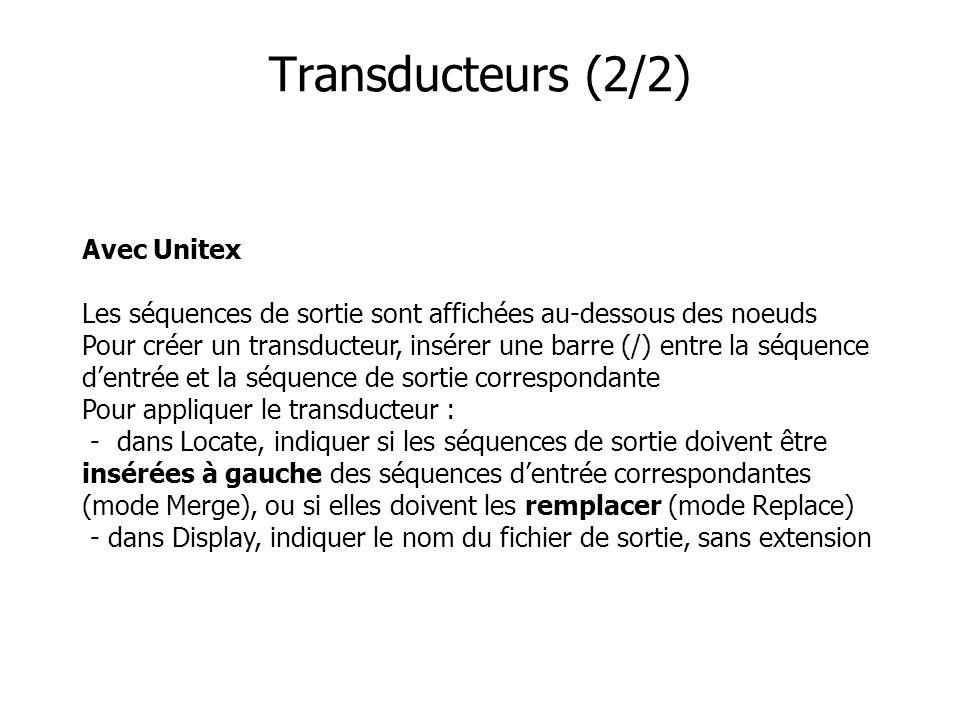 Transducteurs (2/2)