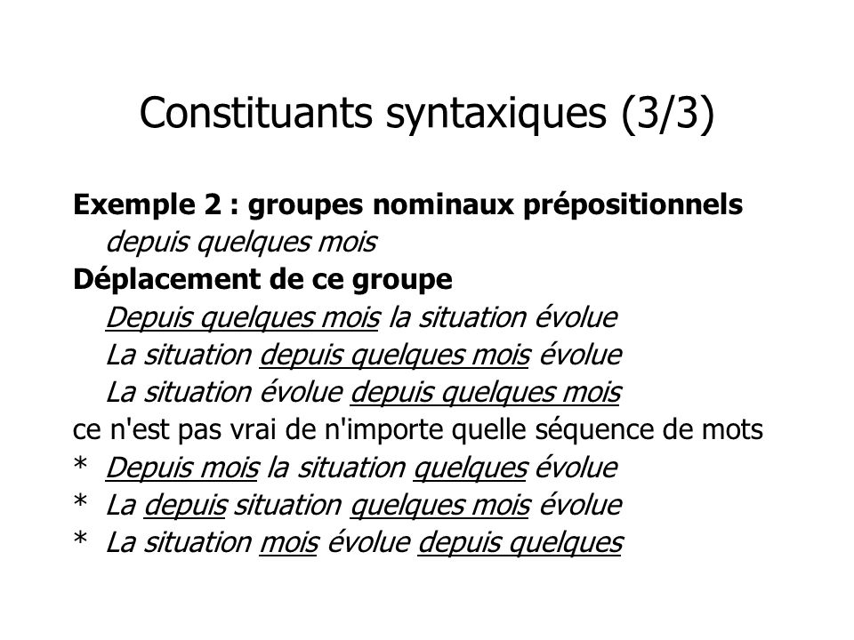 Constituants syntaxiques (3/3)