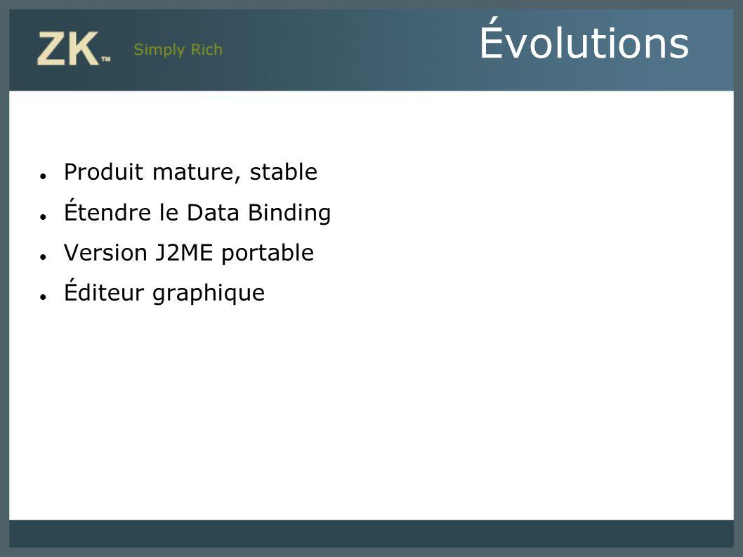 Évolutions Produit mature, stable Étendre le Data Binding