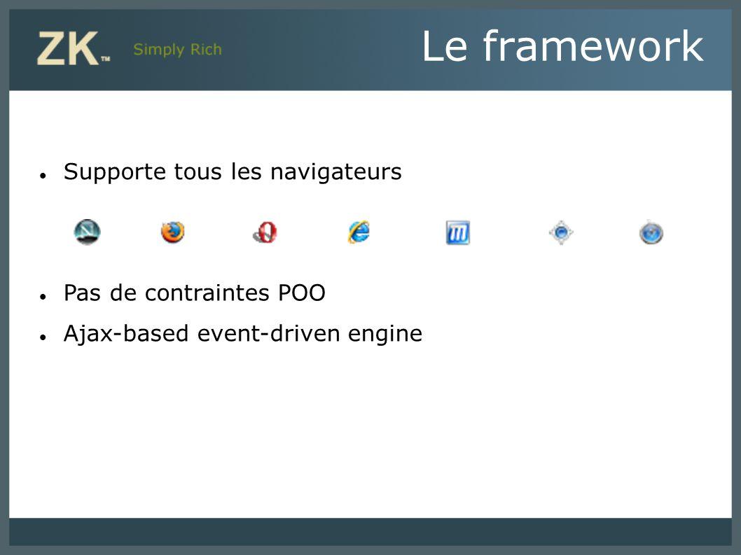 Le framework Supporte tous les navigateurs Pas de contraintes POO
