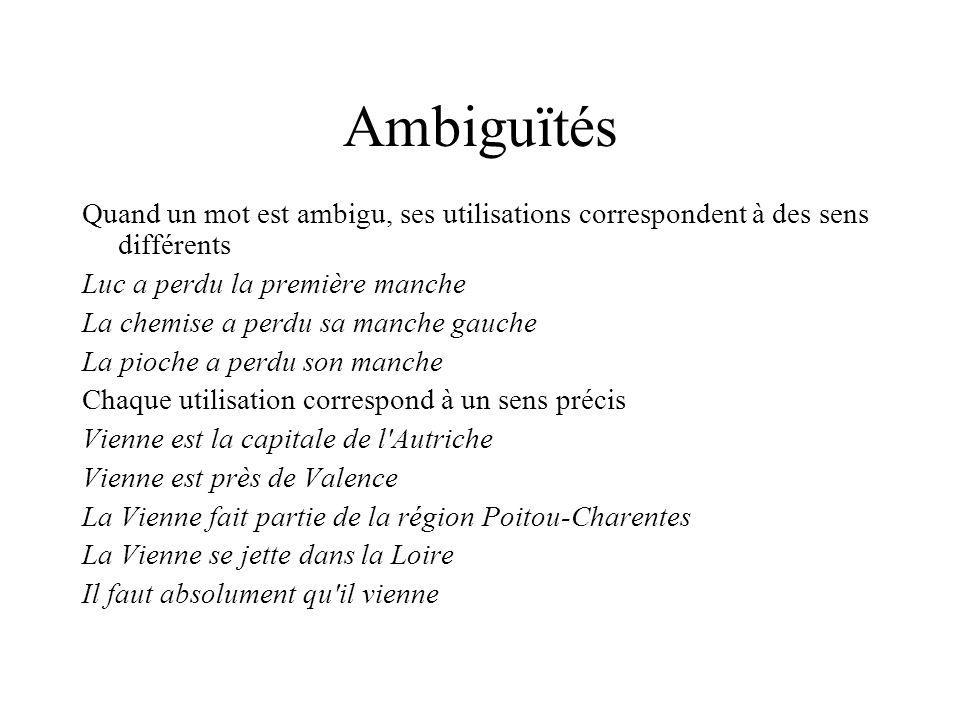 Ambiguïtés Quand un mot est ambigu, ses utilisations correspondent à des sens différents. Luc a perdu la première manche.