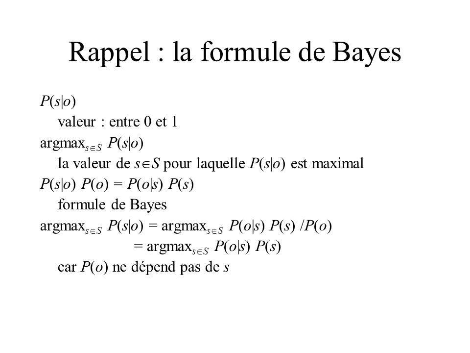 Rappel : la formule de Bayes