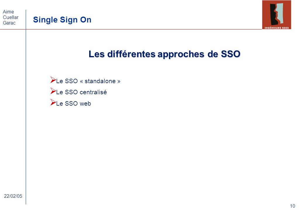 Les différentes approches de SSO