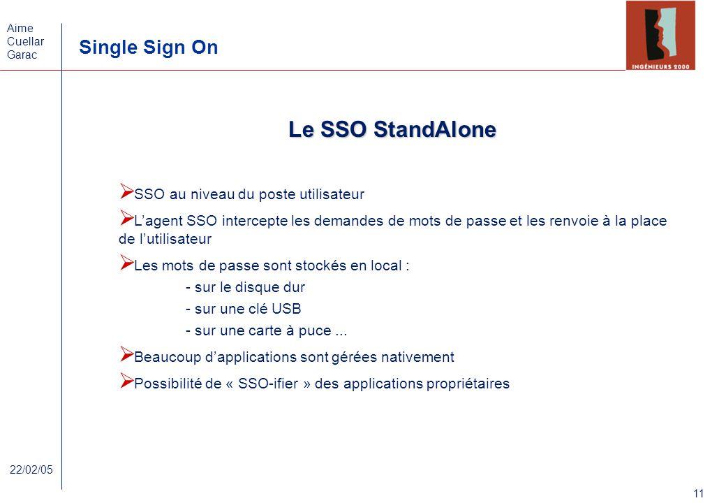 Le SSO StandAlone SSO au niveau du poste utilisateur