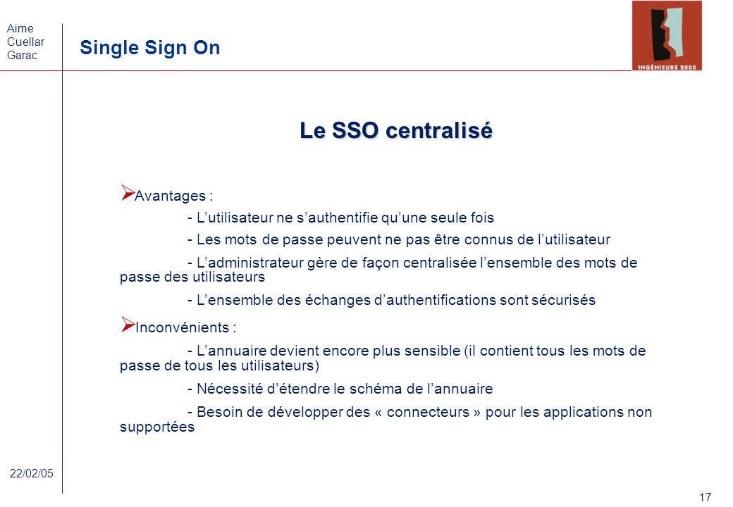 Le SSO centralisé Avantages :