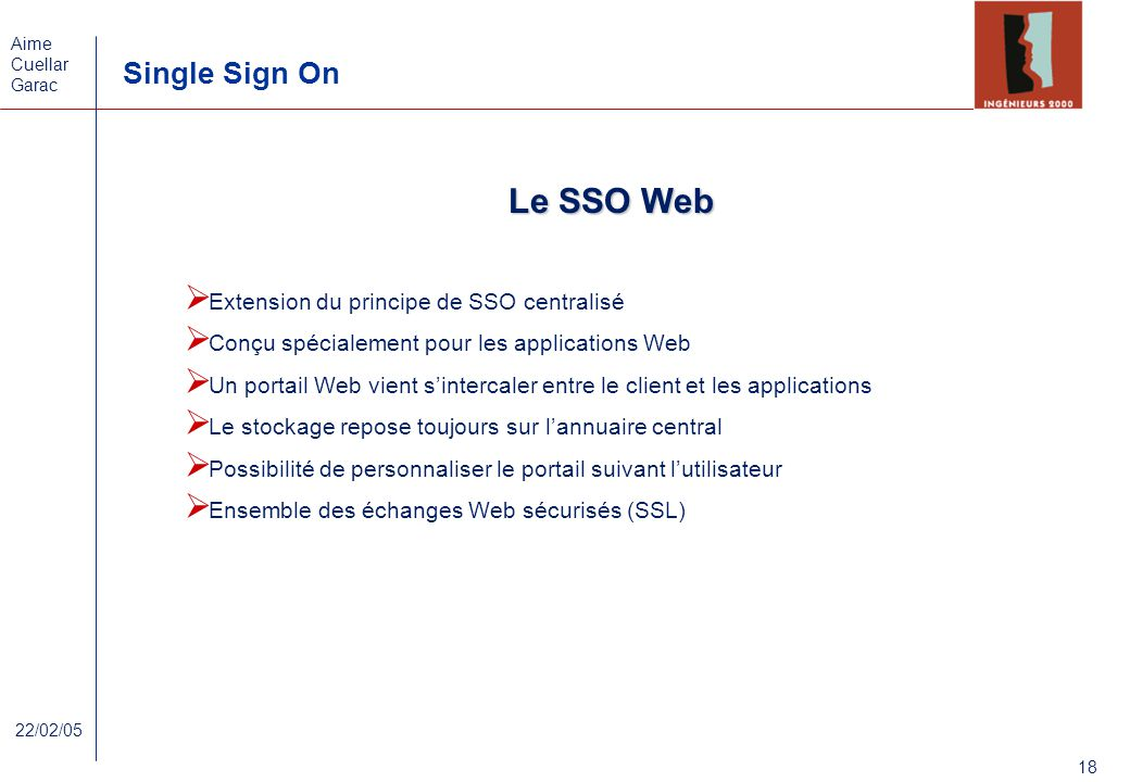 Le SSO Web Extension du principe de SSO centralisé