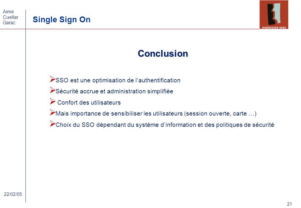 Conclusion SSO est une optimisation de l'authentification