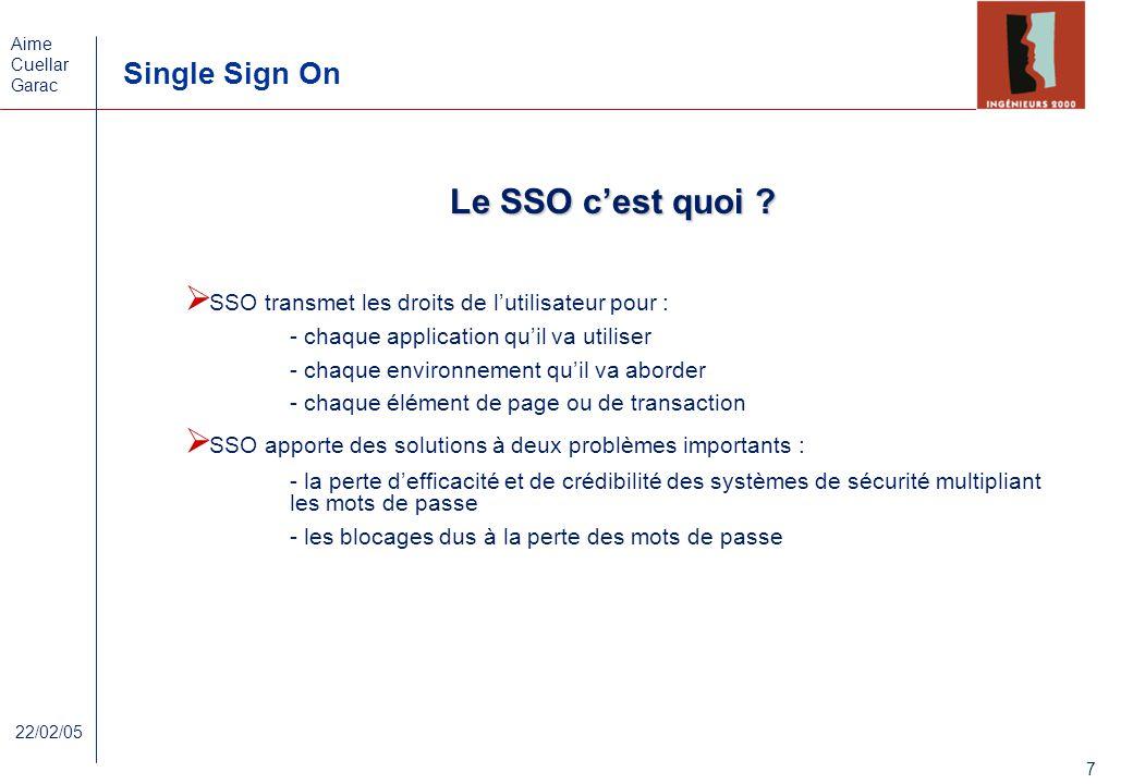 Le SSO c'est quoi SSO transmet les droits de l'utilisateur pour :