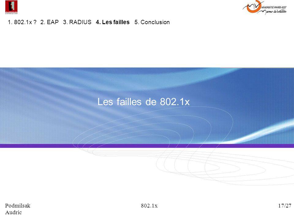 1. 802.1x 2. EAP 3. RADIUS 4. Les failles 5. Conclusion