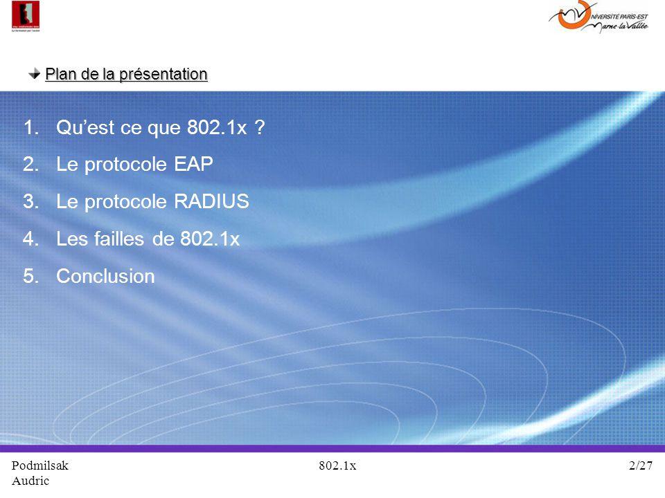 Qu'est ce que 802.1x Le protocole EAP Le protocole RADIUS