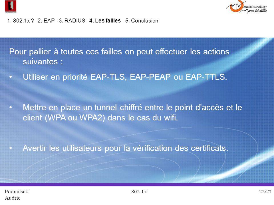 Utiliser en priorité EAP-TLS, EAP-PEAP ou EAP-TTLS.