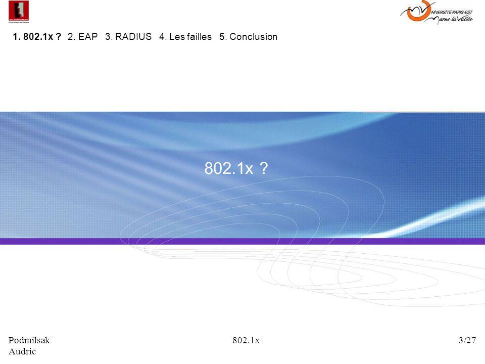 802.1x 1. 802.1x 2. EAP 3. RADIUS 4. Les failles 5. Conclusion