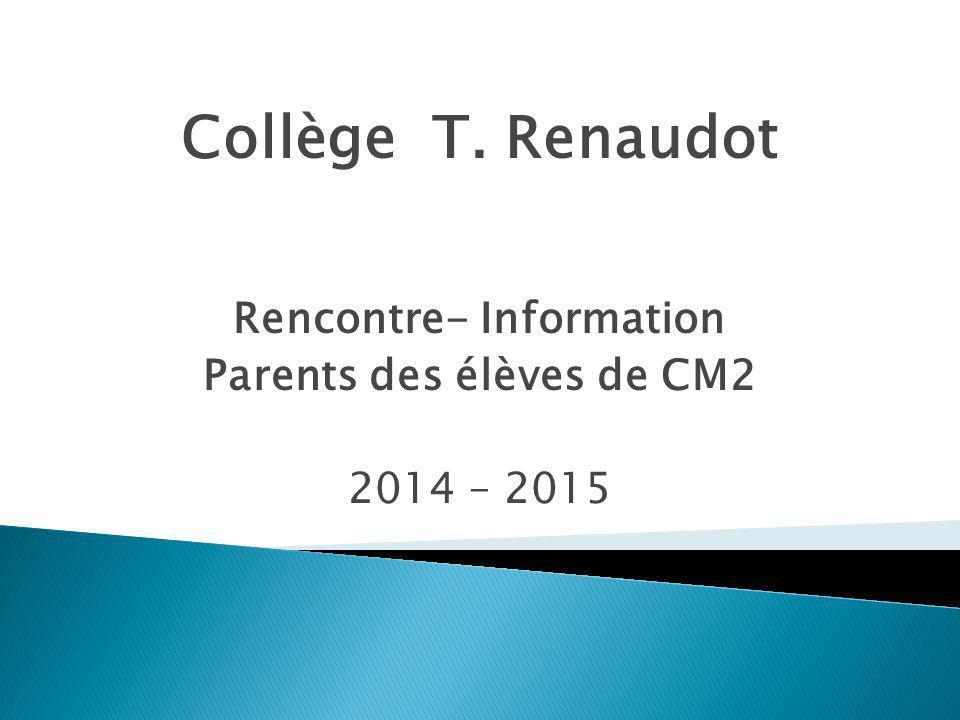 Rencontre- Information Parents des élèves de CM2