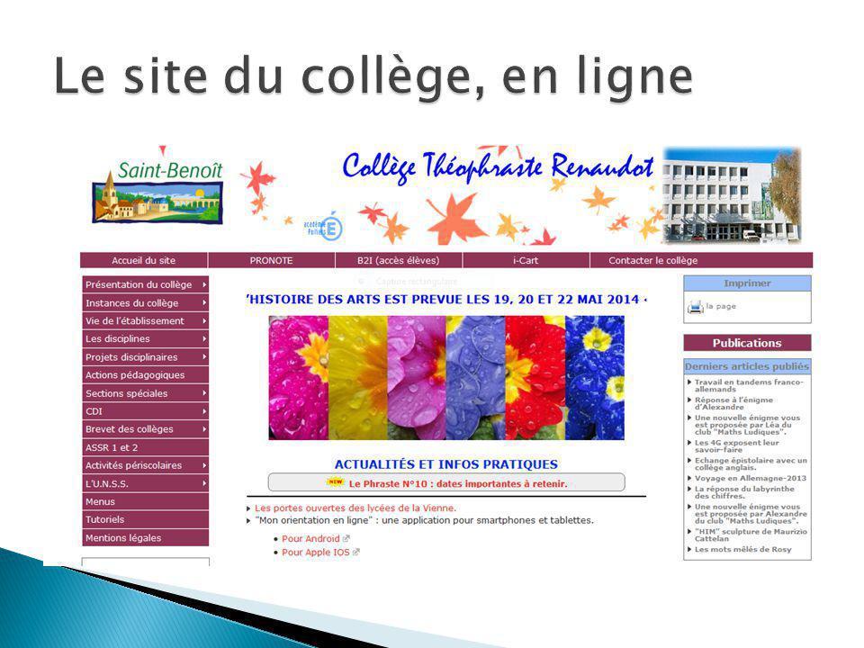 Le site du collège, en ligne