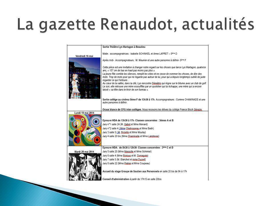 La gazette Renaudot, actualités
