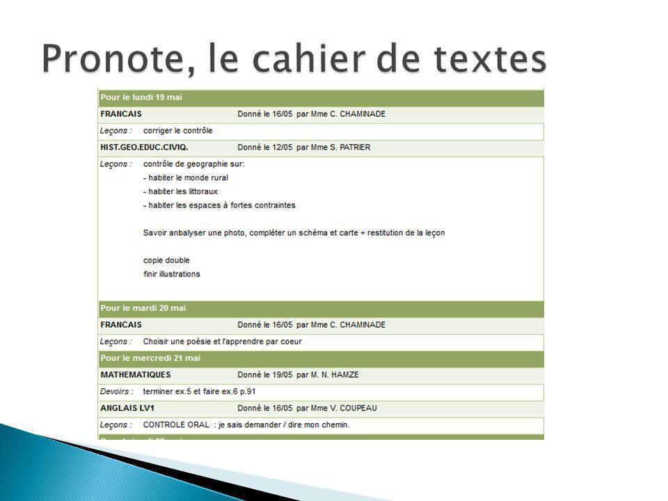 Pronote, le cahier de textes
