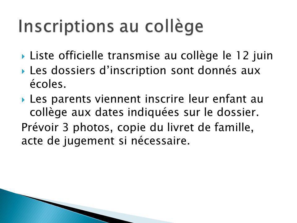 Inscriptions au collège