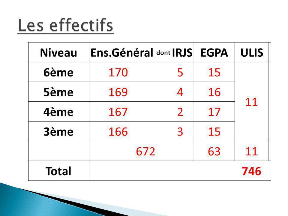 Les effectifs Niveau Ens.Général dont IRJS EGPA ULIS 6ème 170 5 15 11