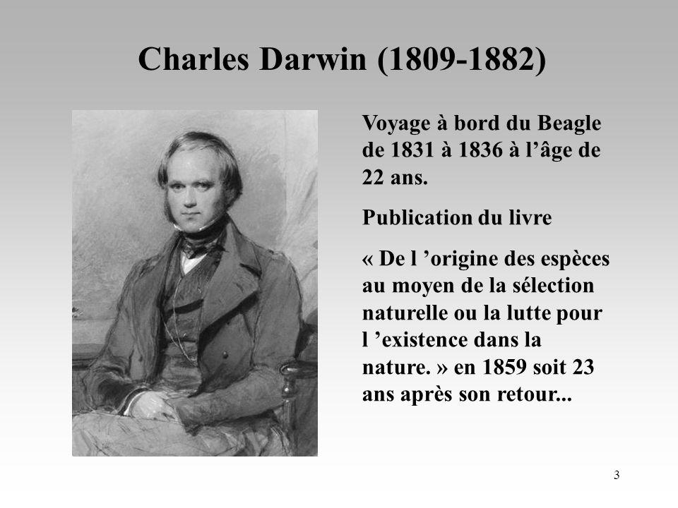 Charles Darwin (1809-1882) Voyage à bord du Beagle de 1831 à 1836 à l'âge de 22 ans. Publication du livre.