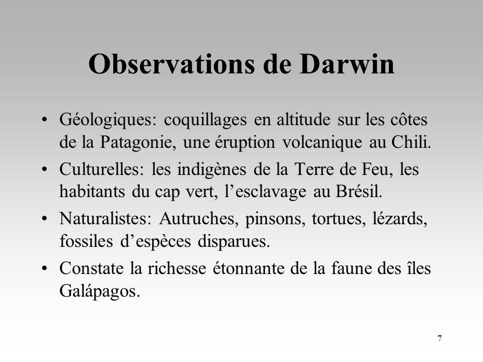 Observations de Darwin