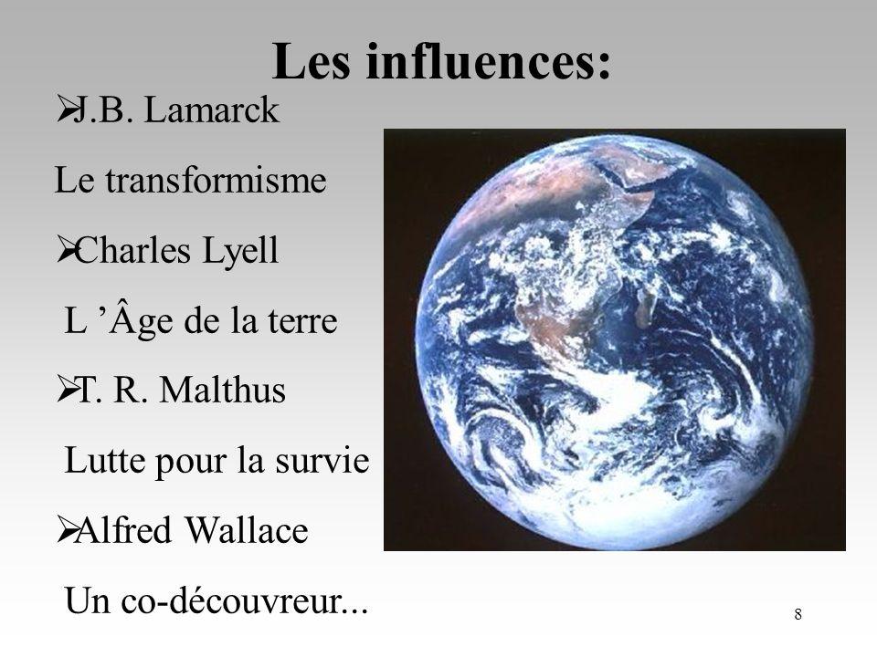 Les influences: J.B. Lamarck Le transformisme Charles Lyell