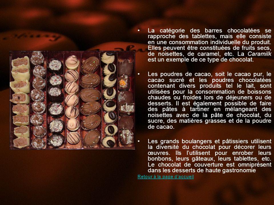 La catégorie des barres chocolatées se rapproche des tablettes, mais elle consiste en une consommation individuelle du produit. Elles peuvent être constituées de fruits secs, de noisettes, de caramel, etc. La Caramilk est un exemple de ce type de chocolat.