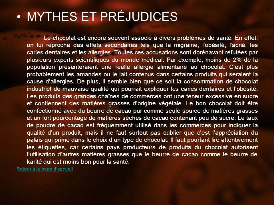 MYTHES ET PRÉJUDICES