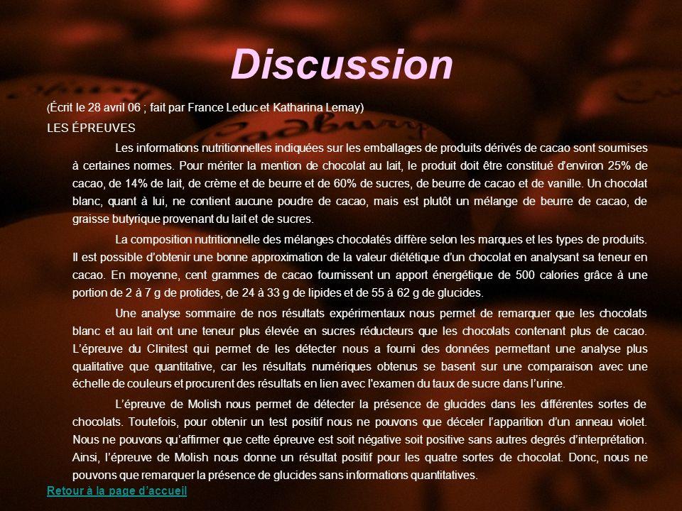 Discussion LES ÉPREUVES
