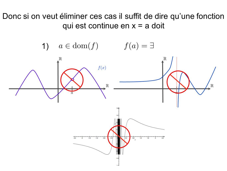 Donc si on veut éliminer ces cas il suffit de dire qu'une fonction qui est continue en x = a doit