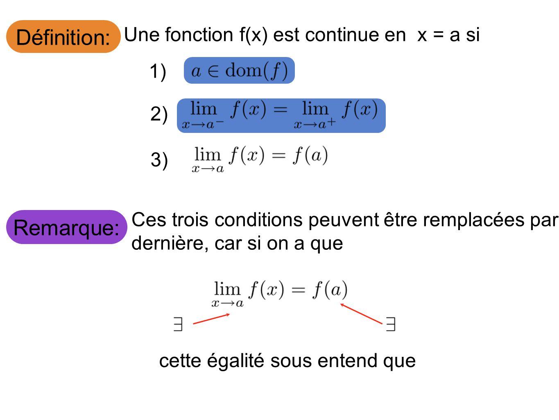 Définition: Remarque: Une fonction f(x) est continue en x = a si 1) 2)