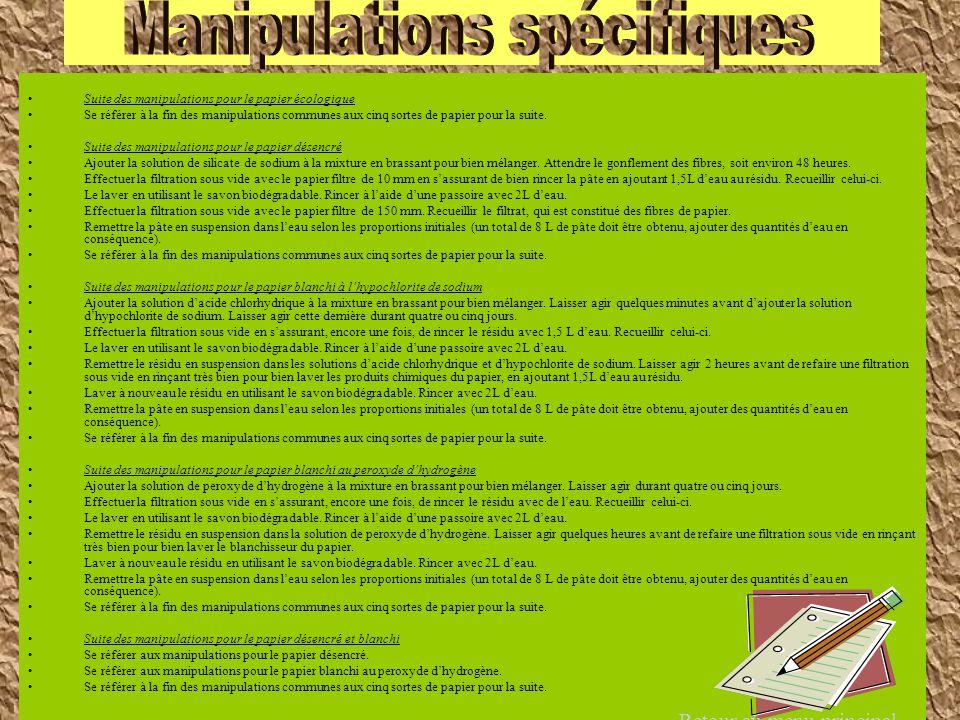 Manipulations spécifiques