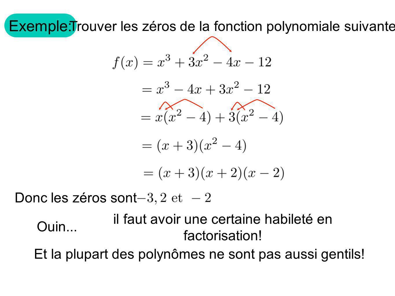 Exemple: Trouver les zéros de la fonction polynomiale suivante.