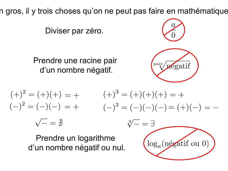 En gros, il y trois choses qu'on ne peut pas faire en mathématiques.