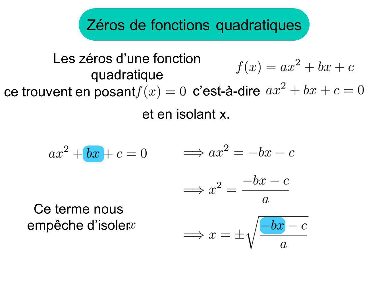 Zéros de fonctions quadratiques
