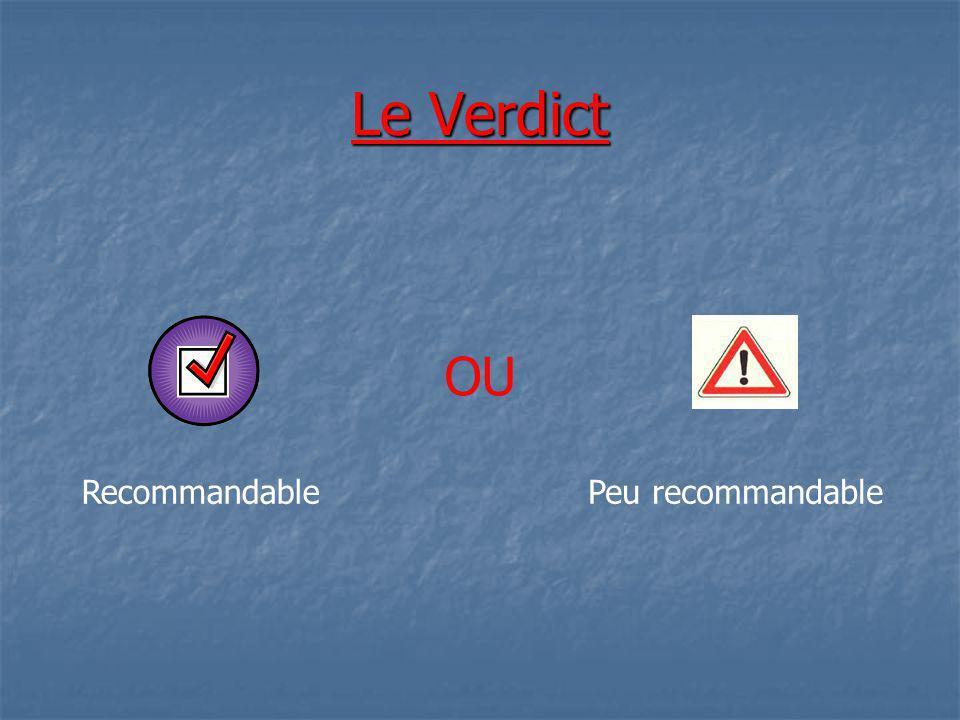 Le Verdict OU Recommandable Peu recommandable
