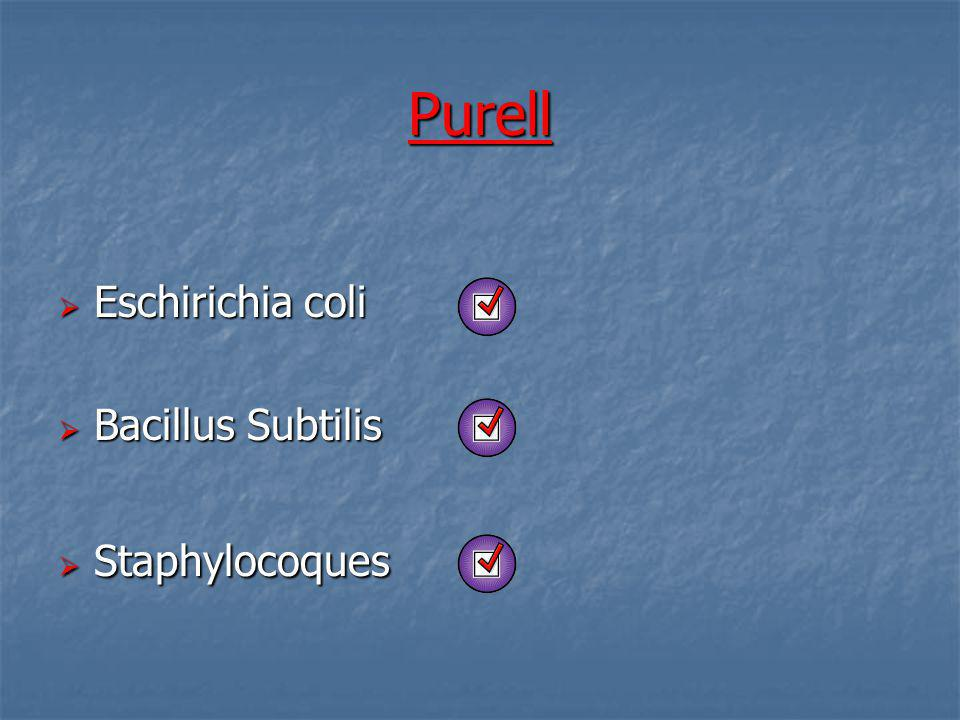 Purell Eschirichia coli Bacillus Subtilis Staphylocoques