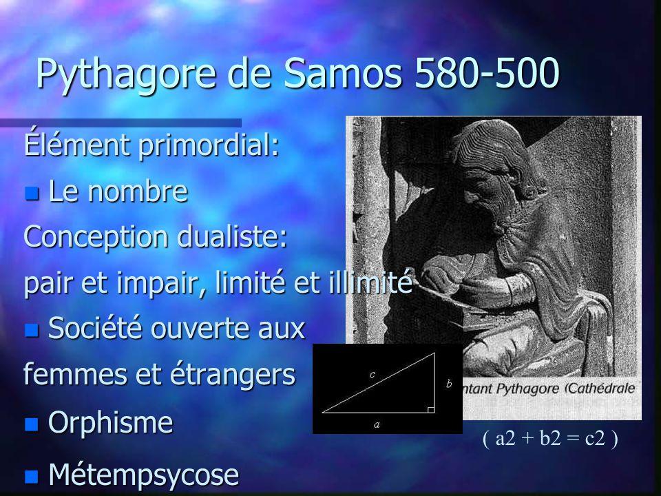 Pythagore de Samos 580-500 Élément primordial: Le nombre